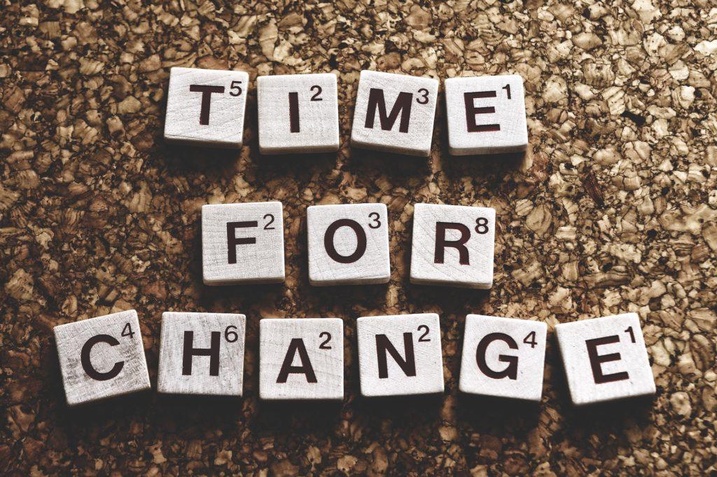 TIME FOR CHANGEと、英単語の書かれた画像